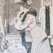 Woman adjusting hat illustration 1903